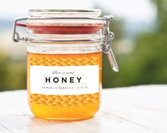 Geometric Honey Jar Wedding or Party Favor Label Printable