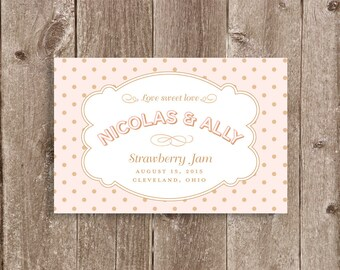 Polka Dot Jam or Preserves Jar Wedding or Party Favor Label Printable