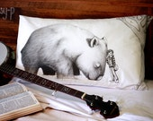 SECOND: Giant Wombat and Banjo Boy pillowcase, facing right. Pillowslip. Australian animal. Australian gift with original art by flossy-p