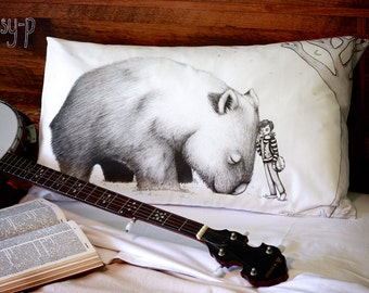 Giant Wombat and Banjo Boy pillowcase, facing right. Pillowslip. Australian animal. Australian gift with original art by flossy-p