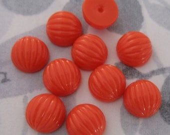 30 pcs. vintage fluted ridged coral red plastic cabochons 10mm - f2966
