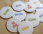 PORTLAND Letterpress Neighborhood Coasters (Pack of 10)