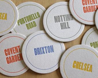 LONDON Letterpress Neighborhood Coasters (Pack of 10)