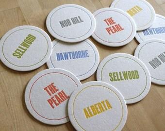 PORTLAND Letterpress Neighborhood Coasters (Pack of 10)