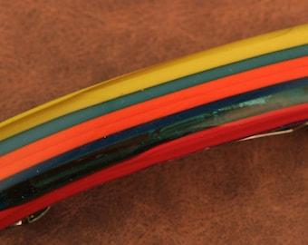 Mulitcolored Fused Glass Barrette No. 359