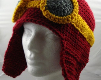 Crocheted Aviator's Helmet in Dark Red with Gold Rimmed Goggles (made to order)