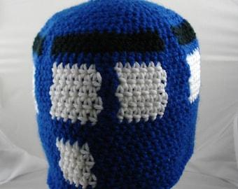 Crocheted Police Box Hat (medium) (SWG-HBEN-M04)
