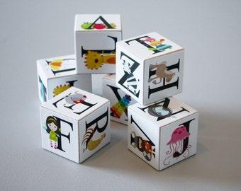 Elegant Pearl Alphabet set of 5 Wooden Blocks with Animals, Fruits 7 Fun