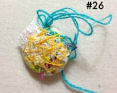 Fiber art handmade embroidery pin / brooch / button number 26 orange, blue, yellow, pink