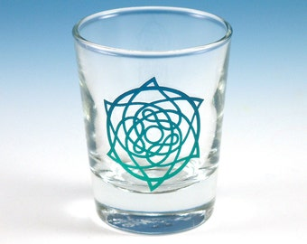 Celtic Star Shot Glass - Inlaid Style - Etched and Painted Glassware - Custom Made to Order
