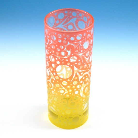 Bubbling Arrows - Highball Glass - Clear Style - Etched and Painted Glassware - Custom Made to Order