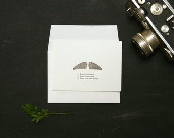MUSTACHIO BASHIO: 'Dapper Dan' letterpress folded card and envelope (1ct)