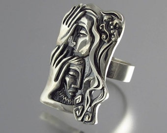 LOVERS statement silver ring Art Nouveau inspired