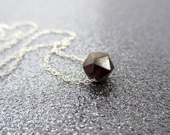 Garnet jewelry, Floating garnet necklace, January birthday jewelry, oxblood burgundy, minimalist necklace, simple jewelry