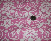 Pink and White Damask Fabric - One Yard - Marshall Dry Goods