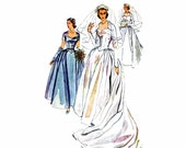 1950s Wedding Dress Simplicity 4084 Vintage Sewing Pattern Bridesmaid Brides Bridal Gown Headdress Veil Mitts Misses Size 12 Bust 30 UNCUT