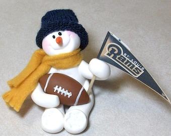 St. Louis Rams football snowman ornament