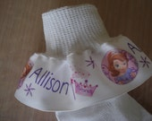 First  Princess MTM Sofia the First  Inspired Personalized Ruffle socks For Girls Tea Party Pageant