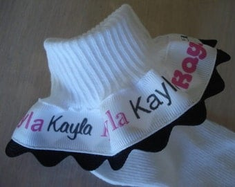 Personalized Ruffle Socks Pink Black Font with Ric Rac  Baby Toddler Infant Girls