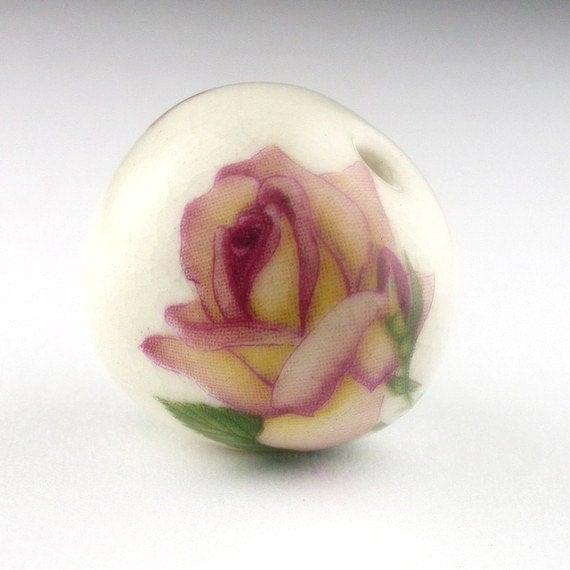 Peach Rose Porcelain Bead