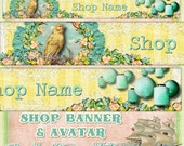 Beautiful Canary Bird and Flowers Vintage Style Etsy Shop Banner and Avatar by Sea Dream Studio