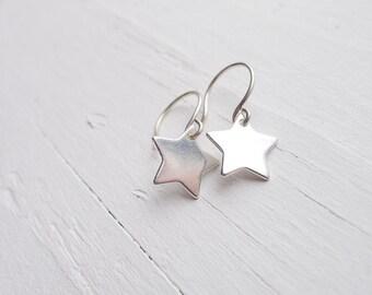 Super Star Earrings Galaxy Earrings Astronomy Jewelry Silver Star Earring Jewelry Dainty Sterling Silver Dangle Earings Wish upon a Star