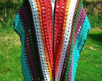 Sale - Rainbow crochet wrap with angled ends - Open weave - wide and extra long