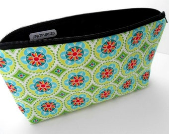 Large Padded Cosmetic Bag Flat Bottom Zipper Pouch Clutch ECO Friendly Green Madhuri Medallions
