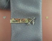 Custom City Map Tie Clip with Silver Airplane