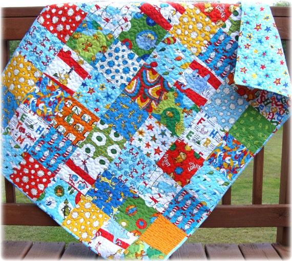 SALE Dr Seuss Baby Quilt Patchwork