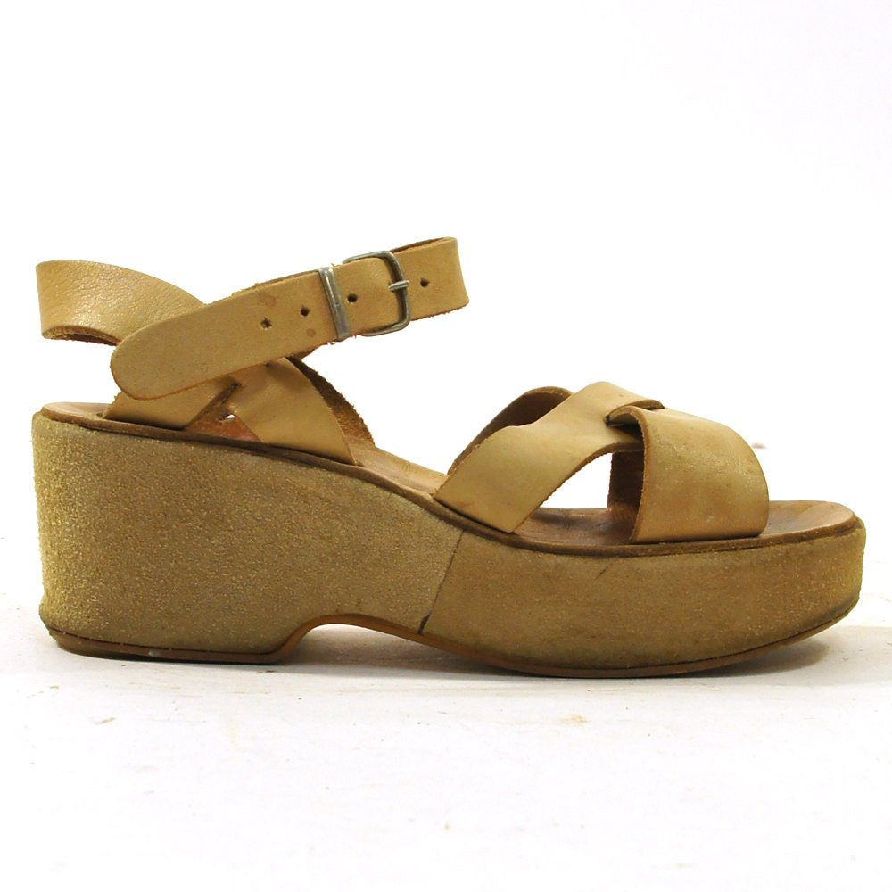 70s Greek Platform Wedge Sandals Tan Leather Amp Suede