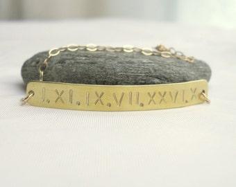 Custom Roman Numeral Bracelet // 14k gold fill Bar Bracelet // Keepsake Jewelry // Under 50