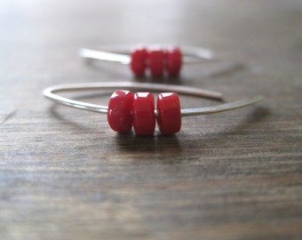 Tiny Triple Coral Earrings