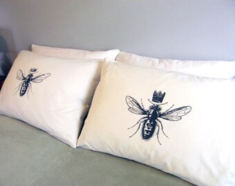 King & Queen Bee His and Hers King Size Pillow Cases, Wedding Gift for Couples, Hand Printed Soft Cotton, Anniversary Gift, 300TC, 220TC