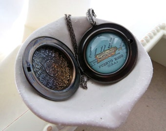 Puerto Rico  Map Locket