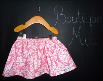 BUY 2 get 1 FREE - Skirt - Michael Miller - Pink Damask - Pick the size Newborn up to 14 Years by Boutique Mia
