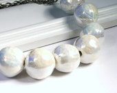 Iridescent White Beaded Necklace - Shimmering Milky Crackle Glaze Ceramic Big Chunky Beads on Gunmetal Chain Industrial Chic Women's Jewelry - walkonthemoon