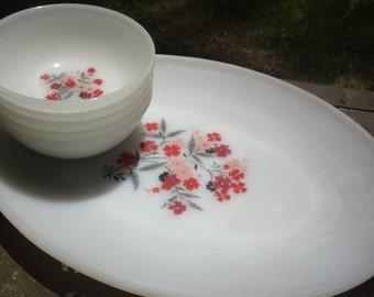 Fireking Primose Pattern Platter and Bowls