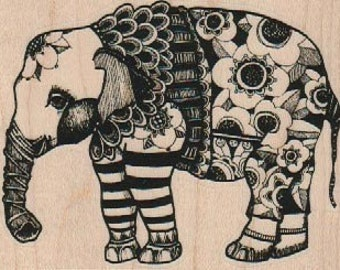Whimsical Elephant zentangle rubber Stamp whimsical by Mary Vogel Lozinak  19219