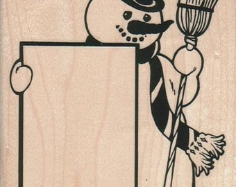 winter rubber stamp Snowman With Broom wood mounted art and craft supplies  230 journaling stamp