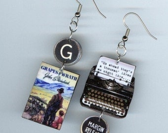 Book Earrings - Typewriter Key jewlelty - John Steinbeck Quote - The Grapes of Wrath banned censored - teachers book club literary gift