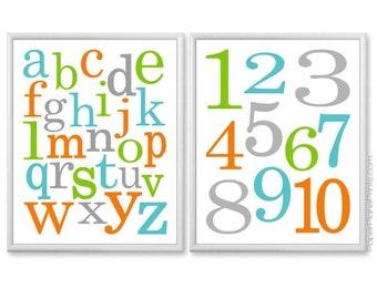 Alphabet Art, Teal Aqua Orange Green Grey ABC 123 Baby Wall Art, Alphabet and Numbers Playroom Art, Childrens Prints 8x10 or 11x14