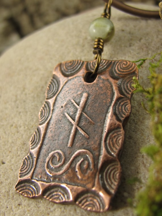 Ivy Ogham Copper Pendant Connemara Marble Celtic Trees