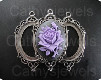 Regency Antique Silver Cameo Settings 40x30 Three Pieces