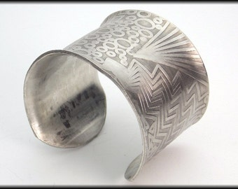 MOD GEOS - Handforged Antiqued Embossed Modern Geometrics Pewter Cuff