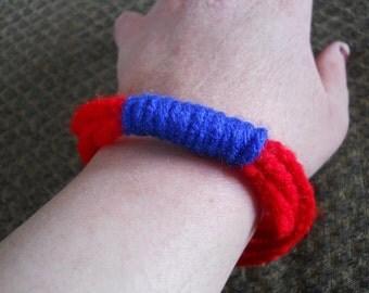 Red and Blue Crocheted Bracelet - Crocheted Summer Bracelet - Red and Blue Bracelet - Christmas Gift - Birthday Gift