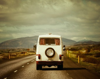 Wanderlust Print, Iceland Travel Photography, Travel Decor, Vintage Camper, Retro Travel Print - The Road Trip