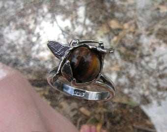 Sterling Silver Hummingbird On Flower Ring With Tiger Eye