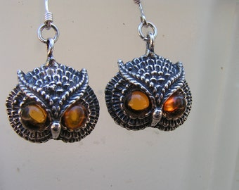 Sterling Silver Owl Earrings With Amber Eyes
