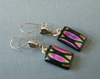 Pink Fused Glass Earrings, Dichroic Fused Glass Drop Earrings, Sterling Silver Heart Earrings - Pink Marquis